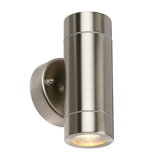 Palin 2lt Wall IP44 35W - Brushed Stainless Steel