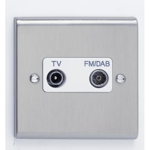 TV/FM DAB Diplexer Outlet- Stainless Steel/White