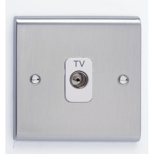 Single Co-Axial Outlet - Isolated- Stainless Steel/White