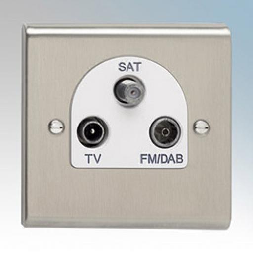 TV/FM DAB Satellite Triplexer Outlet Stainless Steel/White