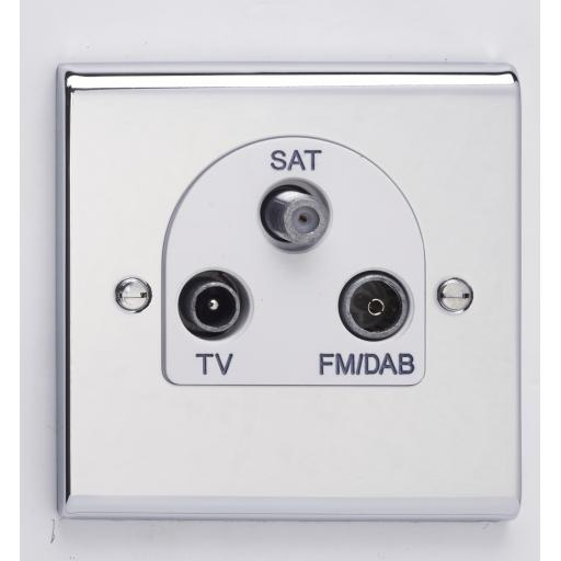 TV/FM DAB Satellite Triplexer Outlet Chr/Wht