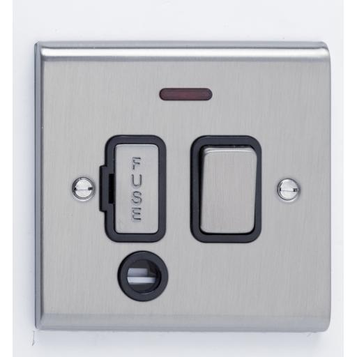 13A DP Switched with Flex Outlet & Neon- Stainless Steel/Bla