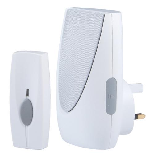 Byron 100m Wireless Doorbell Kit with Plug In Chime White