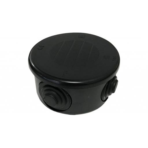 Wiska Plastic Round Junction Box w/ Grommets - IP55 (77x40 mm) Black