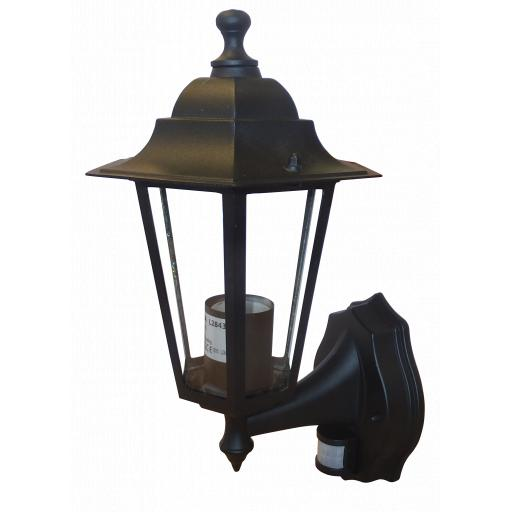 6 Panel Coach Lantern with PIR Sensor - Black