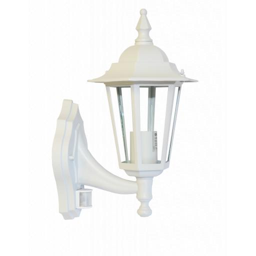 6 Panel Coach Lantern with PIR Sensor - White
