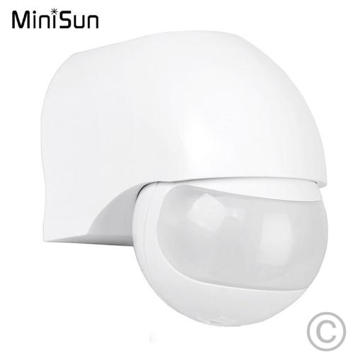 IP44 Outdoor PIR 180 Degree Security Motion Sensor Detector - White