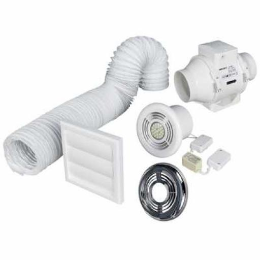 "Aventa In-Line 4"" Timer Shower Fan Kit w/ Light (Chrome/White)"