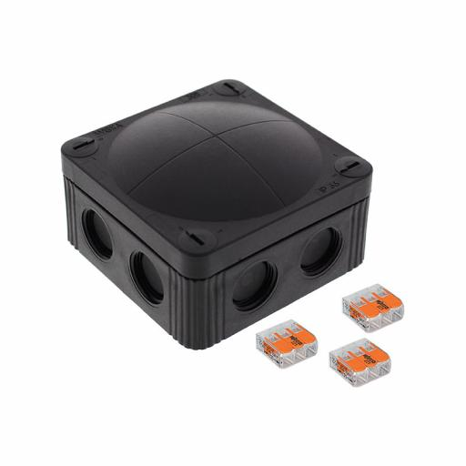 Wiska Black Plastic Junction Box - IP66 (85x85x51 mm) (WAGO)